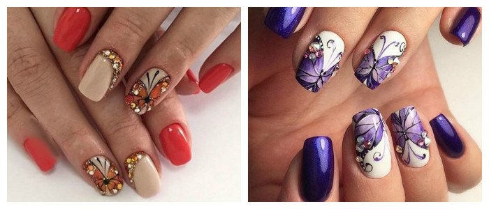 Маникюр с рисунком бабочки из страз
