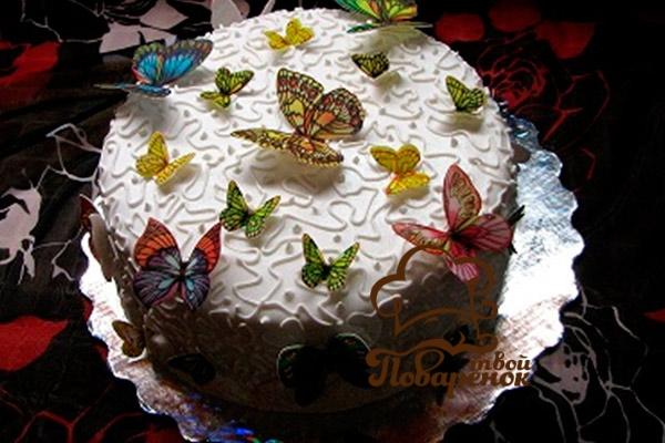 Украшение торта вафельной бумагой