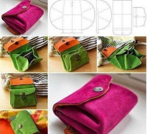 Как сделать кошелек из ткани своими рукам