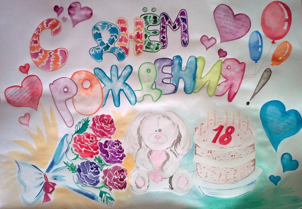 Рисунки с днем рождения своими руками для бабушки