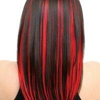 Как на черные волосы сделать красные пряди на