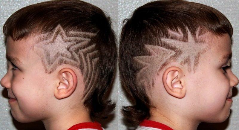 Рисунок выбритый на голове у мальчиков фото