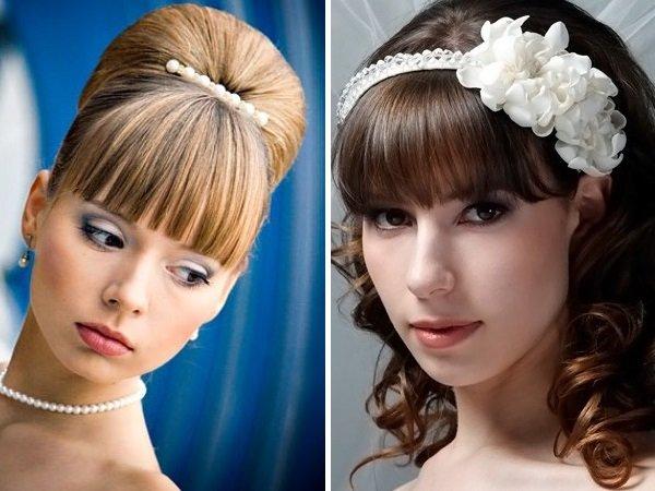 Свадебные прически на длинные волосы с челкой фото своими руками 23